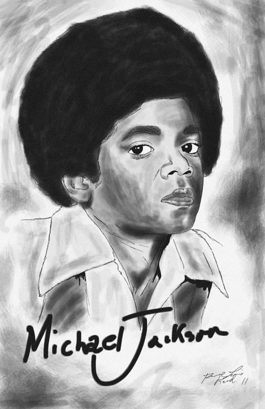 Young Michael Jackson Art Print featuring the drawing Young Michael Jackson by Kenal Louis