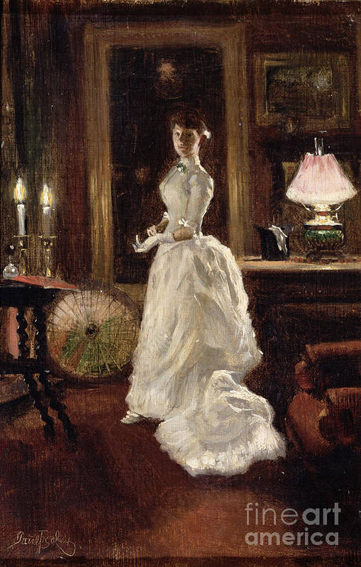 Interior Art Print featuring the painting Interior Scene With A Lady In A White Evening Dress by Paul Fischer