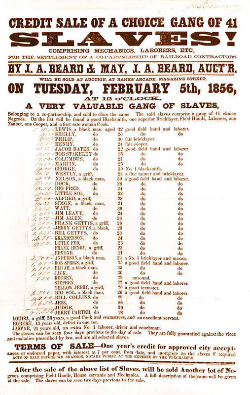 Abolition Art Print featuring the photograph Slave Auction Notice by Photo Researchers, Inc.