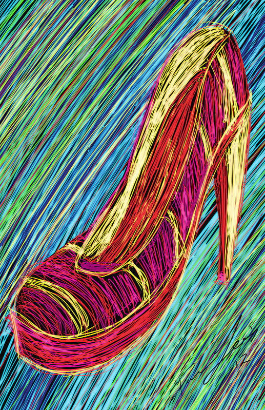 80s High Heels Art Print featuring the painting 80's High Heels by Kenal Louis