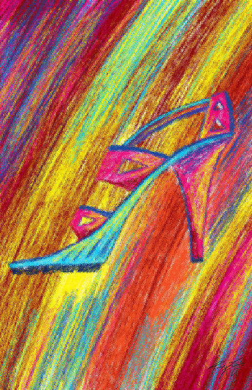 A High Heel Print featuring the painting A High Heel by Kenal Louis
