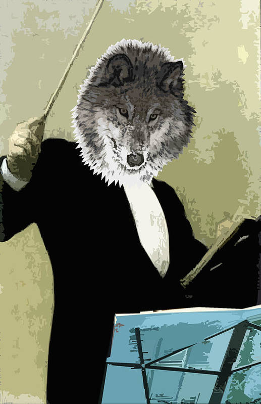 Wolf Art Print featuring the digital art Animal Family 8 Wolf Composer by Travis Burns