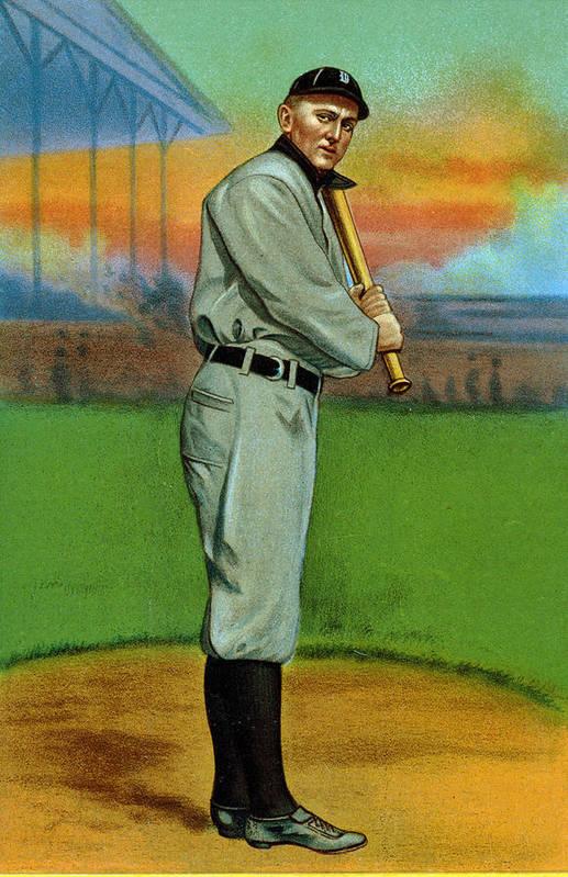 1910s Art Print featuring the photograph Baseball. Ty Cobb Baseball Card by Everett