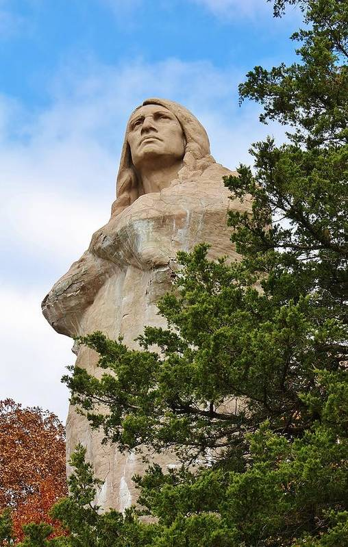 Statue Art Print featuring the photograph Chief Blackhawk Statue by Bruce Bley