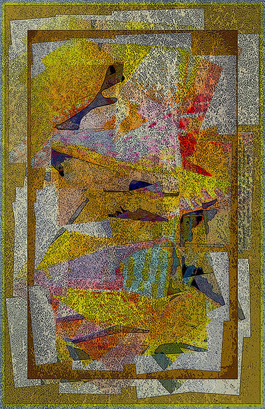 Abstract Art Print featuring the painting Gold Tablet by Mindy Newman
