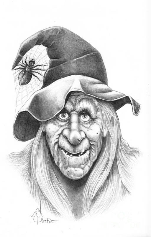 Witch Art Print featuring the drawing Halloween Weeotch by Murphy Elliott
