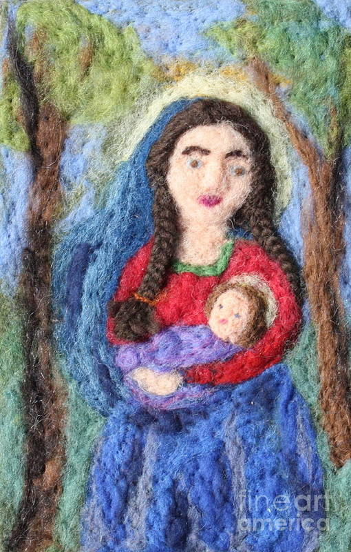 Madonna Art Print featuring the tapestry - textile Madonna And Child by Nicole Besack
