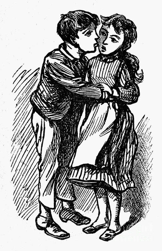 19th Century Art Print featuring the photograph Mother Goose: Kiss by Granger