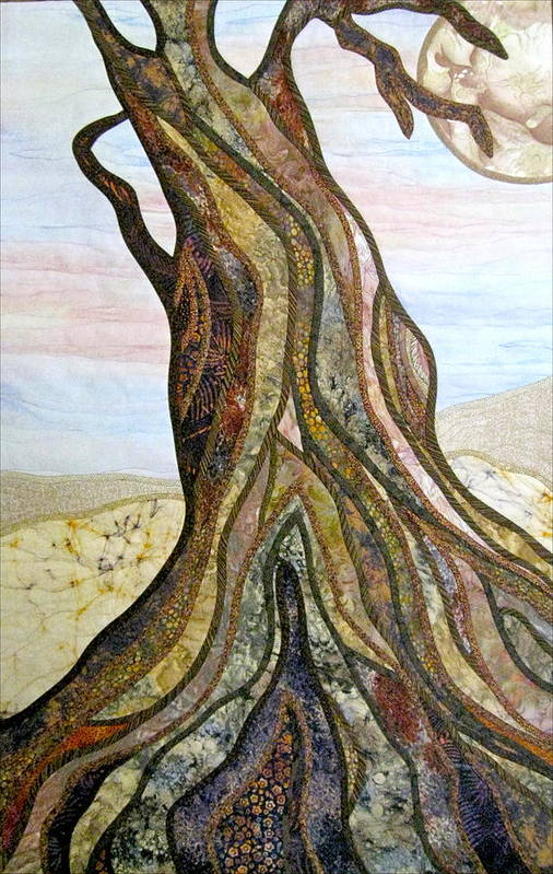 Landscape Art Print featuring the tapestry - textile Reaching by Doria Goocher