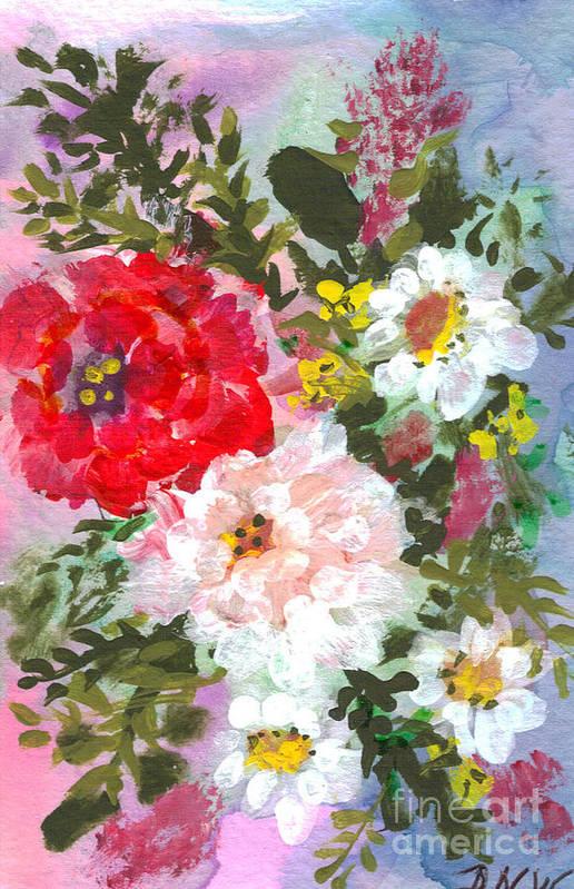 Splashy Art Print featuring the painting Splashy Flowers by Debbie Wassmann