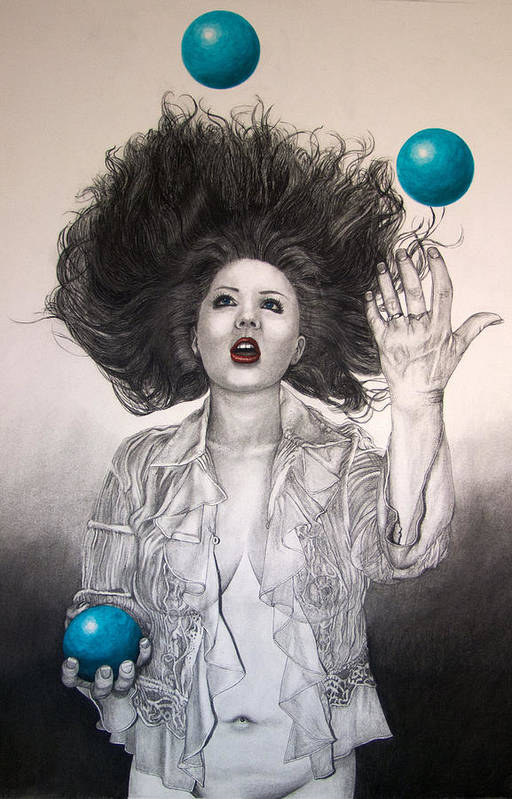 Female Art Print featuring the drawing The Entertainer by TP Dunn
