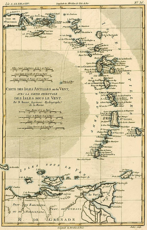 Maps Art Print featuring the drawing The Lesser Antilles Or The Windward Islands by Guillaume Raynal