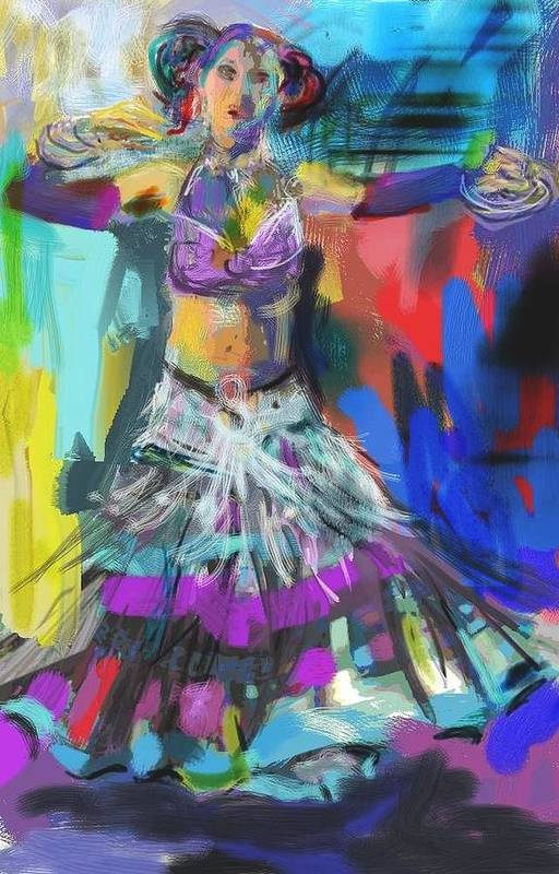 Dancer Print featuring the digital art Wild Belly Dancer by Barbara Kelley
