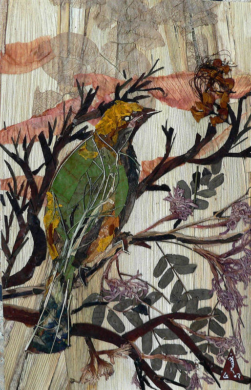 Green Bird Art Print featuring the mixed media Green-yellow Bird by Basant Soni