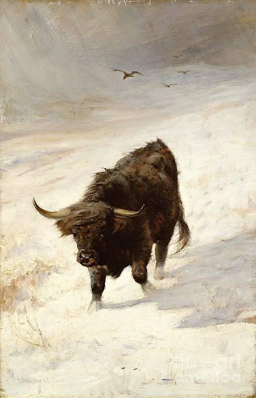 Black Beast Wanderer By Joseph Denovan Adam (1842-96) Art Print featuring the painting Black Beast Wanderer by Joseph Denovan Adam