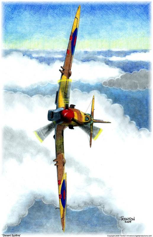 Aircraft Art Print featuring the drawing Desert Spitfire by Trenton Hill