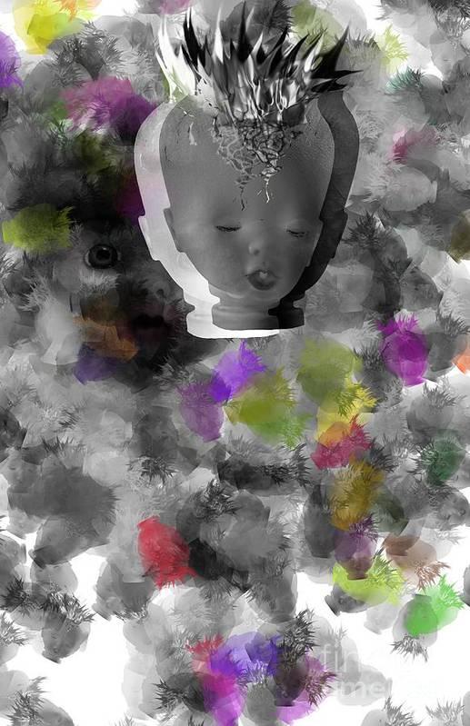 Ok Art Print featuring the digital art Exploding Head by Michal Boubin