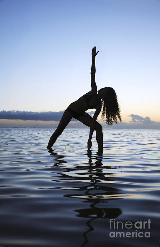 Alone Art Print featuring the photograph Yoga On The Coastline by Brandon Tabiolo - Printscapes