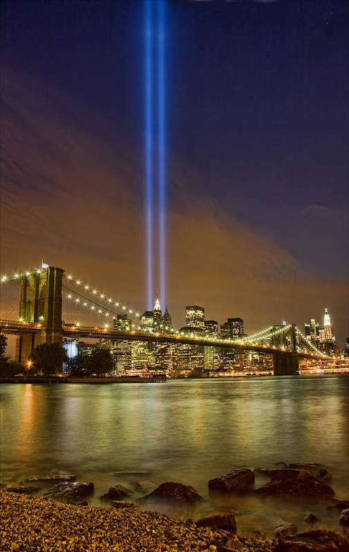 911 Art Print featuring the photograph Twin Towers Of Light by June Marie Sobrito