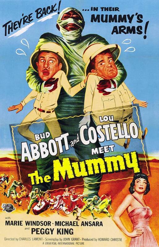 1950s Poster Art Art Print featuring the photograph Abbott And Costello Meet The Mummy Aka by Everett
