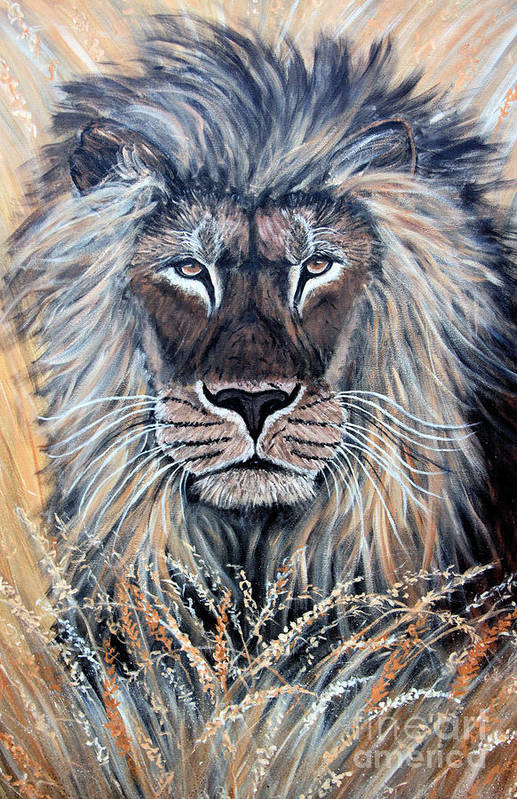 Lion Art Print featuring the painting African Lion by Nick Gustafson