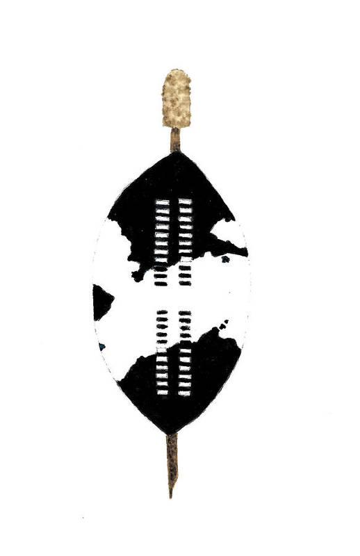 African Zulu Warrior Shield Art Print