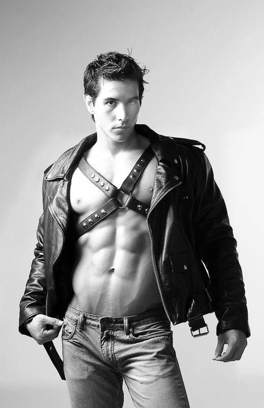 Male Art Print featuring the photograph Alan In Leather by Dan Nelson