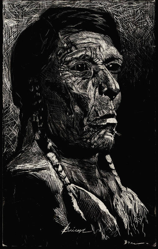 Indian Art Print featuring the drawing American Chief by Brian Child
