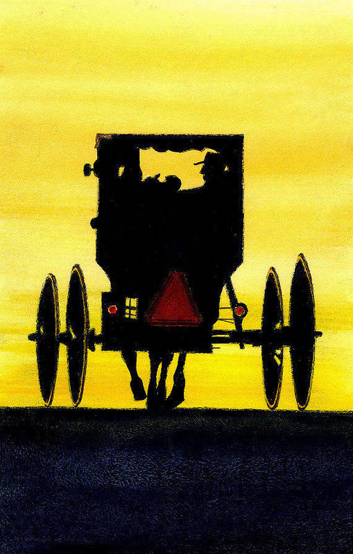Amish Art Print featuring the painting Amish Buggy At Dusk by Michael Vigliotti