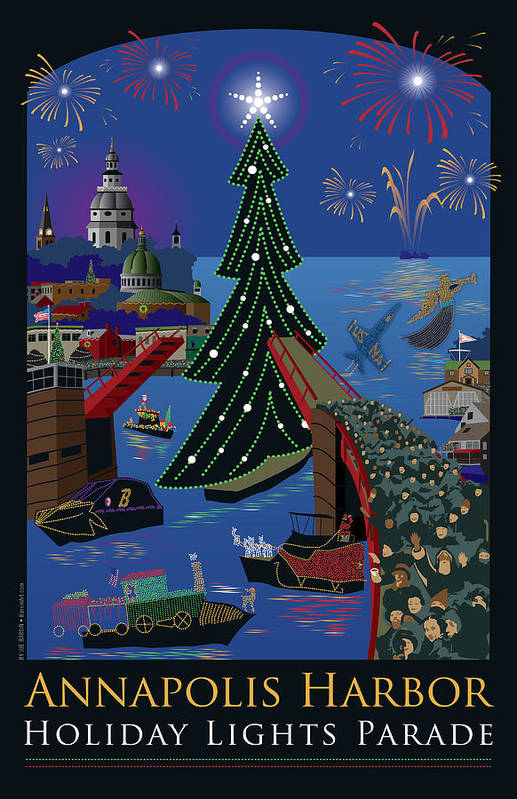 Annapolis Art Print featuring the digital art Annapolis Holiday Lights Parade by Joe Barsin