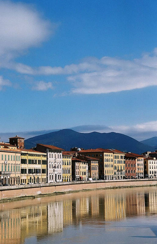 Pisa Art Print featuring the photograph Arno River Pisa Italy by Kathy Schumann