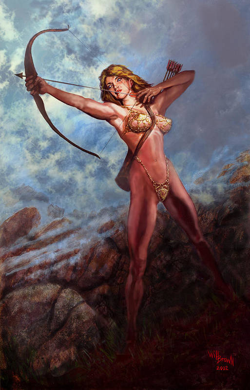 Traditional Digital Acrylic Fantasy Myth Art Print featuring the mixed media Artemis Diana by Will Brown