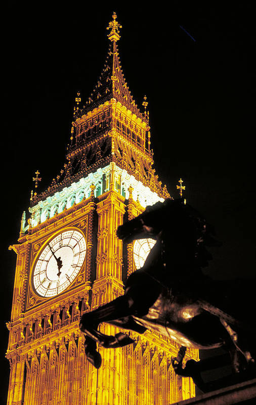 Clock Art Print featuring the photograph Big Ben In London by Carl Purcell