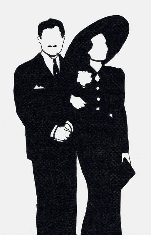 Nostalgia Art Print featuring the drawing Black And White Couple by Mel Thompson
