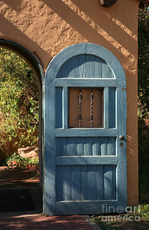 Door Art Print featuring the photograph Blue Arch Door by Timothy Johnson