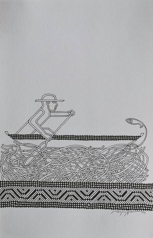 Boat Art Print featuring the drawing Boatman by Raul Agner
