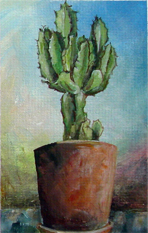 Flower Art Print featuring the painting Cactus 3 by Muriel Dolemieux