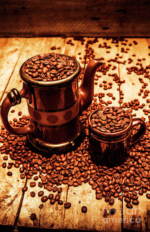 Hot Art Print featuring the photograph Ceramic Coffee Pot And Mug Overflowing With Beans by Jorgo Photography - Wall Art Gallery