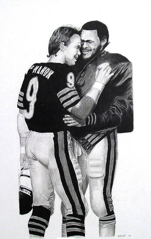 Chicago Bears Art Print featuring the drawing Chicago Bears Quarterbacks by Vincent Wolff