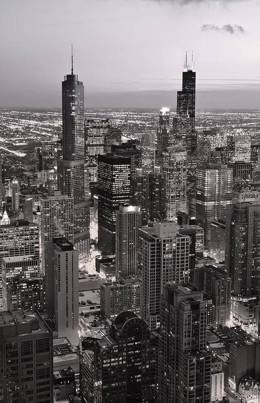 Aerial Art Print featuring the photograph Chicago Loop Sundown B And W by Steve Gadomski