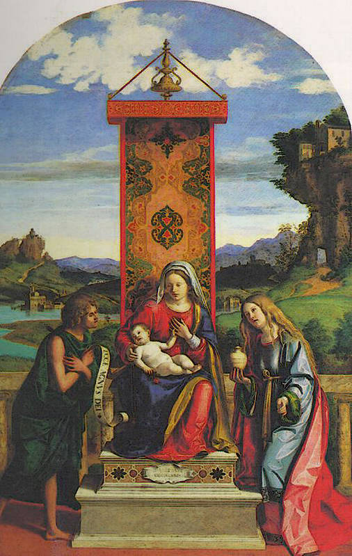 Cima Art Print featuring the digital art Cima Da Conegliano The Madonna And Child With St John The Baptist And Mary Magdalen by PixBreak Art