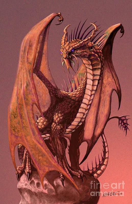 Dragon Art Print featuring the digital art Copper Dragon by Stanley Morrison