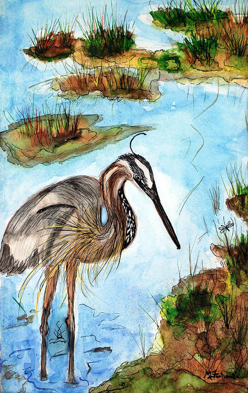 Birds Art Print featuring the painting Crane In Florida Swamp by Margaret Fortunato