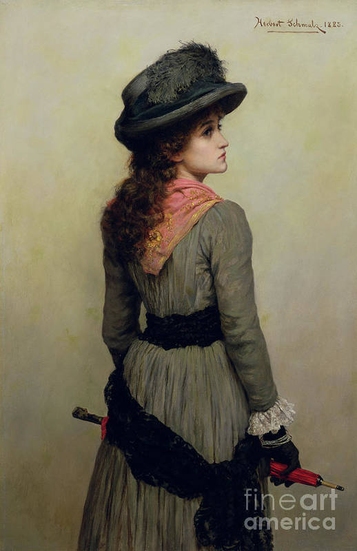 Hat Art Print featuring the painting Denise by Herbert Schmalz