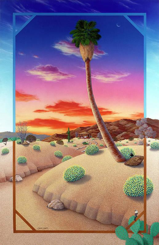 Landscape Art Print featuring the painting Desert Gazebo by Snake Jagger