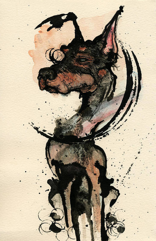 Dog Art Print featuring the painting Doberman by Mark M Mellon
