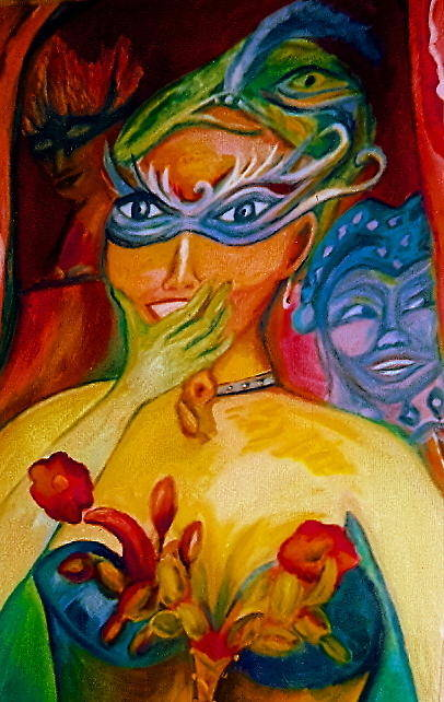 Mardi Gras Art Print featuring the painting Expressions Of Mardi Gras by Sidra Myers