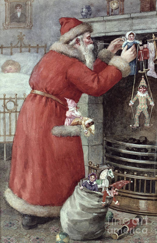 Father Art Print featuring the painting Father Christmas by Karl Roger