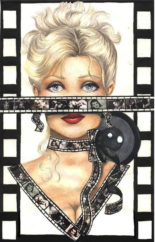 Portrait Art Print featuring the drawing Film 1 by Scarlett Royal
