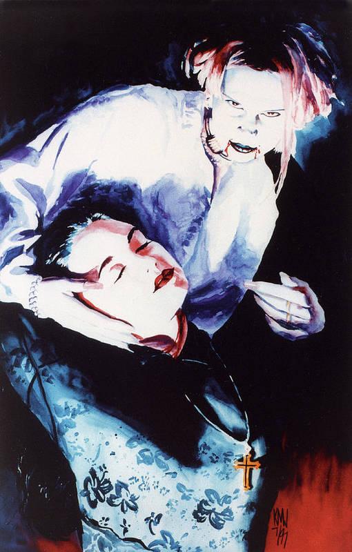 Vampires Art Print featuring the painting First Taste by Ken Meyer